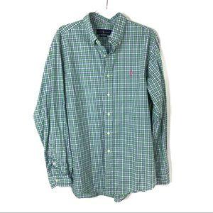Ralph Lauren   Men's Green Blue Plaid Button Down